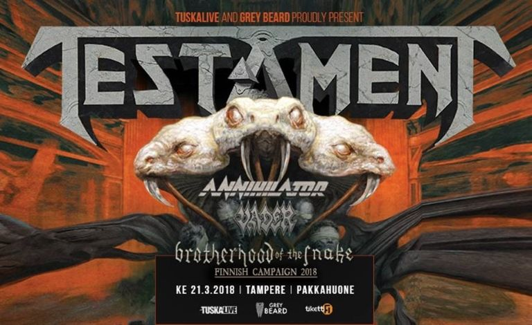 Brotherhood of the Snake - Scandinavian Campaign 2018: Testament (USA), Annihilator (CAN), Vader (POL) Tickets