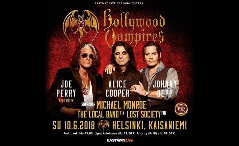 Eastway Live proudly presents: Hollywood Vampires, Michael Monroe, Lost Society, The Local Band Liput